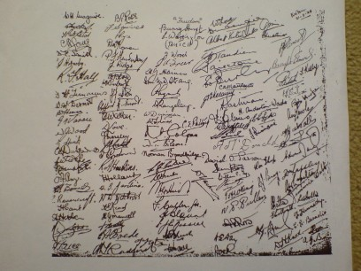 Signatures of everybody in the camp